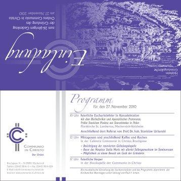 Einladung - Communio in Christo