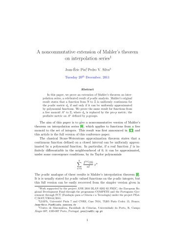A noncommutative extension of Mahler's theorem on interpolation ...