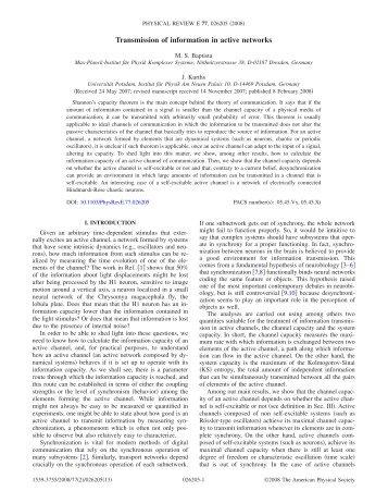 Transmission of information in active networks - APS Link Manager ...
