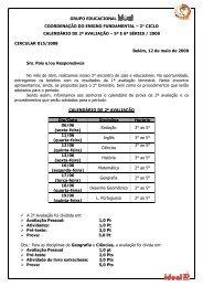 2° ciclo calendário de 2ª avaliação - Grupo Ideal