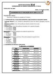 CALENDÁRIO DA 2ª AVALIAÇÃO DO 9° ANO A / B / C - Grupo Ideal