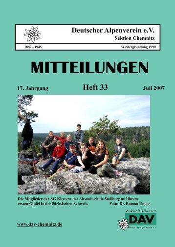 MITTEILUNGEN - DAV Sektion Chemnitz