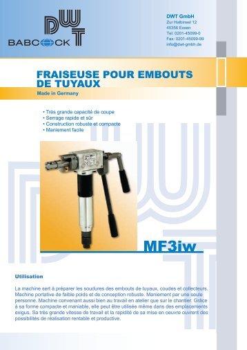 PDF MF 3iw Fraiseuse pour embouts de tuyaux - DWT Gmbh