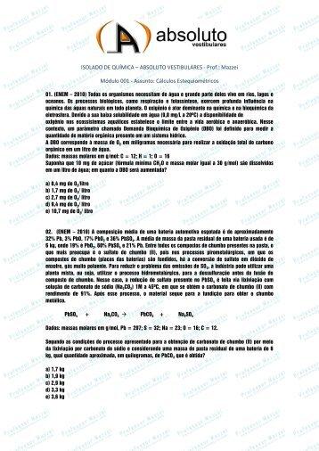 ISOLADO DE QUÍMICA – ABSOLUTO ... - Professor Mazzei