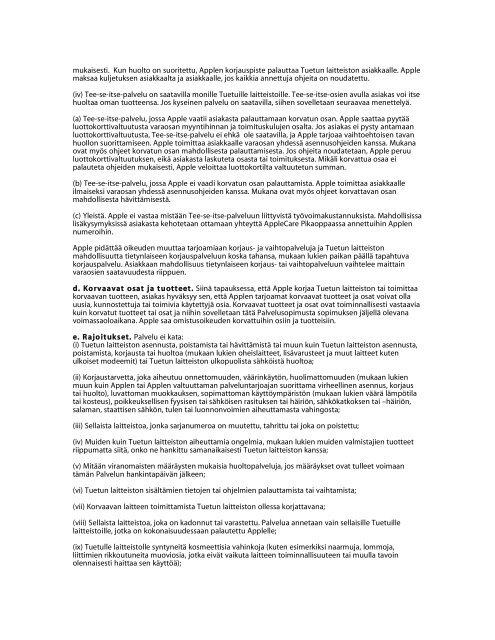 SopimusehdotAppleCare Protection Plan Näissä ... - Apple Store
