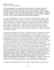 Apple Computer Inc. Contrat de licence de logiciel ... - Apple Store