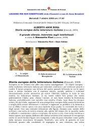 Storia europea della letteratura italiana - Comune di Firenze
