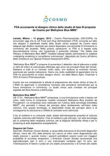 FDA acconsente al disegno clinico dello studio di fase III proposto ...