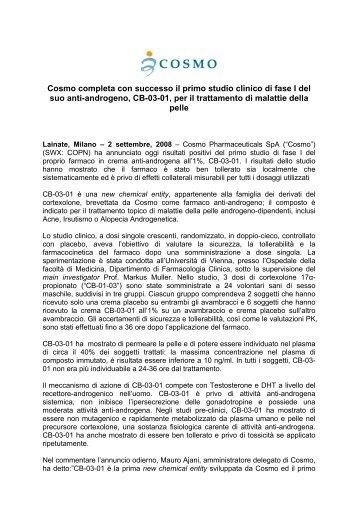 Cosmo completa con successo il primo studio clinico di fase I del ...