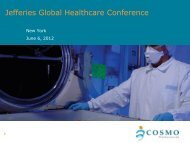 Jefferies Global Healthcare Conference - Cosmo Pharmaceuticals