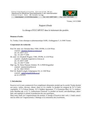 Etude de l'alimentation d'engraissage de poulets 2006 - Eucarvet
