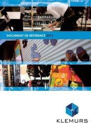Télécharger le document de référence 2011 - Klemurs