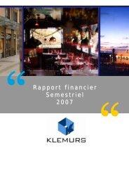 Rapport financier Semestriel 2007 - Klemurs