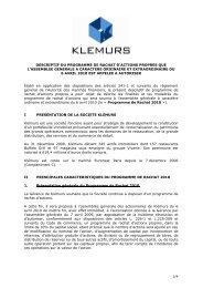 Vclean Descriptif du Programme de Rachat Klémurs2010 ... - Klemurs