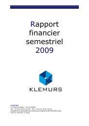 Rapport financier semestriel 2009 - Klemurs