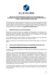 descriptif du programme de rachat d'actions propres que l ... - Klemurs