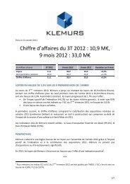 Chiffre d'affaires du 3T 2012 : 10,9 M€, 9 mois 2012 : 33,0 ... - Klemurs