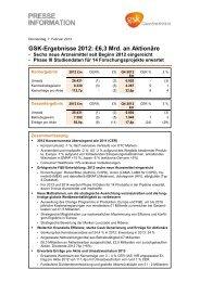 GSK-Ergebnisse 2012 - GlaxoSmithKline Pharma GmbH