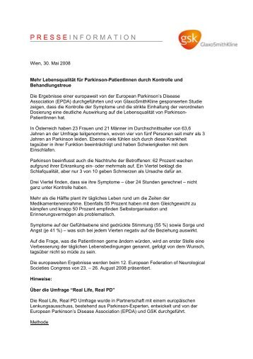 Studie zur Lebensqualität von Parkinson-Patientinnen (02.06.2008)