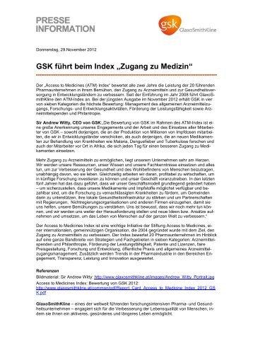 "GSK führt beim Index ""Zugang zu Medizin"" (PDF) - GlaxoSmithKline ..."