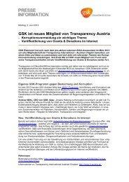 GSK ist neues Mitglied von Transparency Austria - GlaxoSmithKline ...