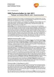 GSK Partnerschaften im Jahr 2011 - GlaxoSmithKline Pharma GmbH