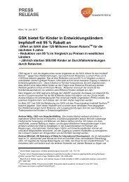 GSK bietet für Kinder in Entwicklungsländern Impfstoff mit 95 ...