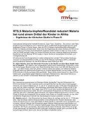 RTS,S Malaria-Impfstoffkandidat reduziert Malaria bei rund einem ...