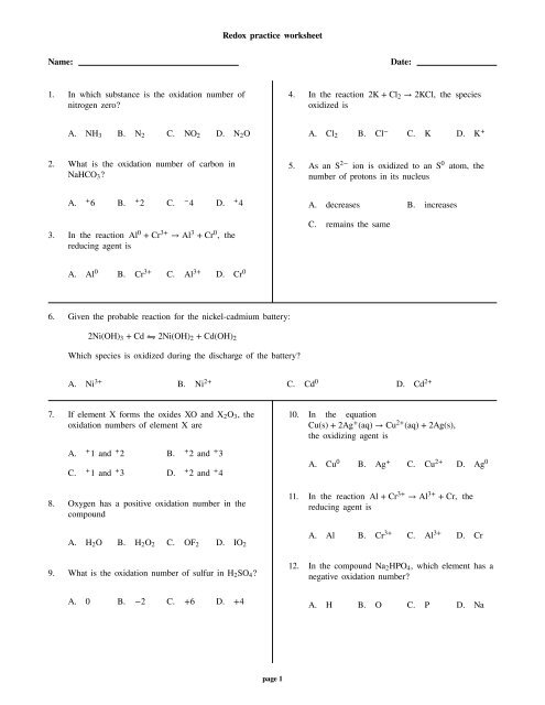 2 5 Redox Reactions Practice Worksheet With Answers