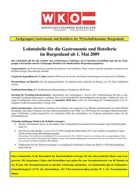 Lohntabelle für die Gastronomie und Hotellerie im ... - Lohnbenchmark