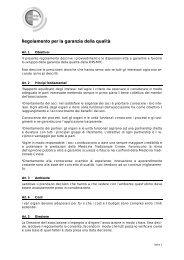 Regolamento per la garanzia della qualità - SBO-TCM