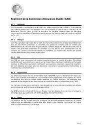 Règlement de la Commission d'Assurance Qualité (CAQ) - SBO-TCM