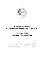 Compte rendu de l'Assemblée Générale de l'OPS-MTC ... - SBO-TCM