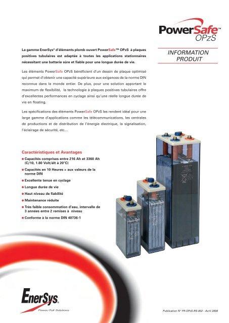 INFORMATION PRODUIT - Enersys - EMEA