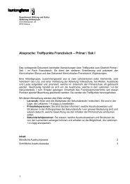 Absprache: Treffpunkte Französisch – Primar / Sek I