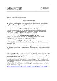 Zulassungsprüfung BA ITALIENSTUDIEN FU BERLIN - Freie ...