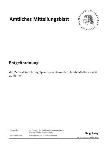 Entgeltordnung - Sprachenzentrum - Humboldt-Universität zu Berlin
