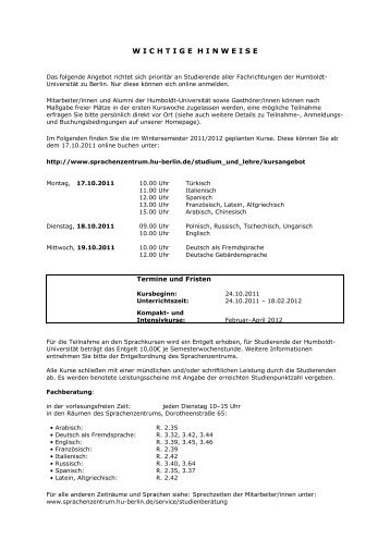 wichtigehinweise - Sprachenzentrum - Humboldt-Universität zu Berlin