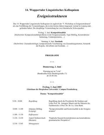14. Wuppertaler Linguistisches Kolloquium Ereignisstrukturen