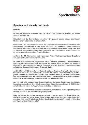 Geschichte von Spreitenbach, lange Version