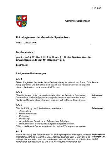 Polizeireglement der Gemeinde Spreitenbach