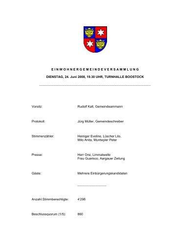 2008, Protokoll Einwohnergemeindeversammlung 24.06.2008