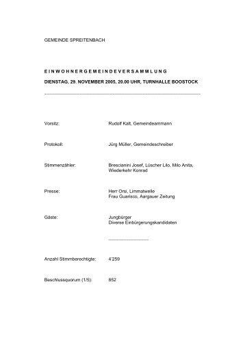 2005, Protokoll Einwohnergemeindeversammlung 29.11.2005