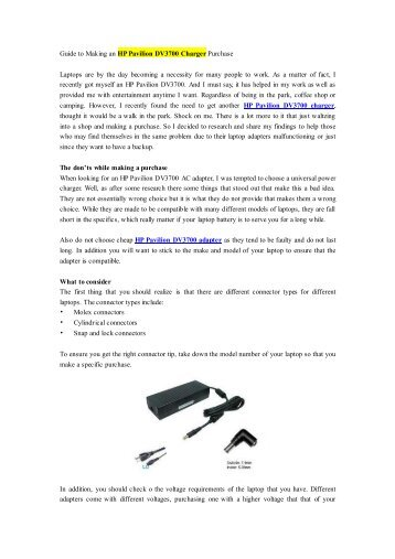 Guide to Making an HP Pavilion DV3700 Charger Purchase.pdf