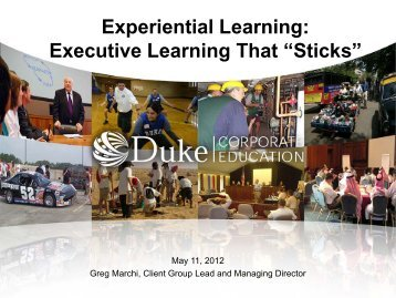 "Experiential Learning: Executive Learning That ""Sticks"" - Spring"