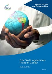 Free Trade Agreements (Trade in Goods) - Spring
