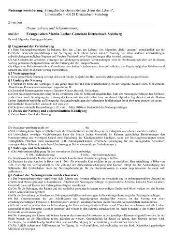 Mietvertrag zum Download - Evangelische Martin-Luther-Gemeinde