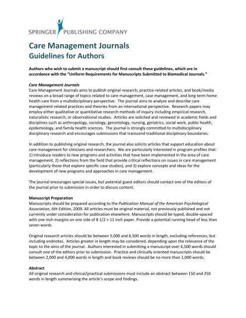 Care Management Journals - Springer Publishing