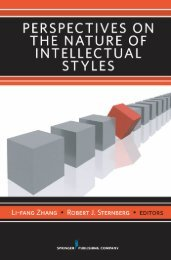 Perspectives on the Nature of Intellectual Styles - Springer Publishing