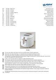 EN SF~4001 Deep Fryer Instruction for use DE SF~4001 Fritteuse ...